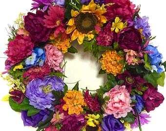 Bright Wreath #Fall Wreath All Season Wreath Silk Floral Garden Mixed Variety Indoor Outdoor Wreath