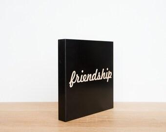Friendship Wall Tile, Wall Art Word, Friendship Wall Decor, SALE, Word Tile, Engraved Friendship Tile, Friendship Wall Plaque
