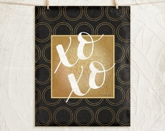 XOXO 11x14 Print -Inspirational, Motivational, Word Art, Home, Wall Decor -Black, White, Gold