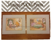 RARE Vintage Pooh Prints- Nursery Prints- Original Winnie the Pooh- Piglet- Tigger- Eyeore- Tea Party- Boy Room Decor- Girl Room Decor