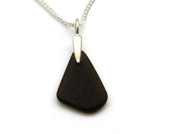 Rare Very Dark Alligator Sea Glass Necklace, Beach Glass Jewellery, Seaglass Necklace KYRA