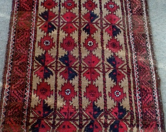 Genuine Hand Woven Iranian Belouch Rug 5.5' x 3', 100% wool, natural vegetable dyes, vintage.