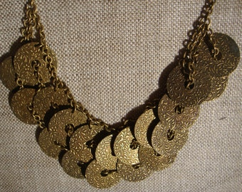 1930's Costume Jewelry , Copper Gold Brass Disc Necklaces , Arm Bands , Jewelry for Tribal Costume or Belly Dance Costume