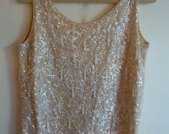 1960's Sequin and Beaded Shell with Back Zipper for Costume or Repurposing