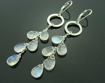 Rainbow Moonstone Dangle 925 Sterling Silver Cascade Leverback Earrings