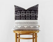 Black and White Mudcloth Pillow Case, 18x18 Geometric African Mud Cloth Inspired Decorative Cushion Cover, Throw Pillow | Tribal Boho Decor