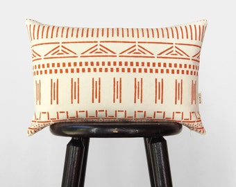 Burnt Orange and Ecru African Mud Cloth Decorative Pillows, Spice 12x18 Lumbar Mudcloth Pillow Case, Terracotta Cushion Cover, Ethnic Accent