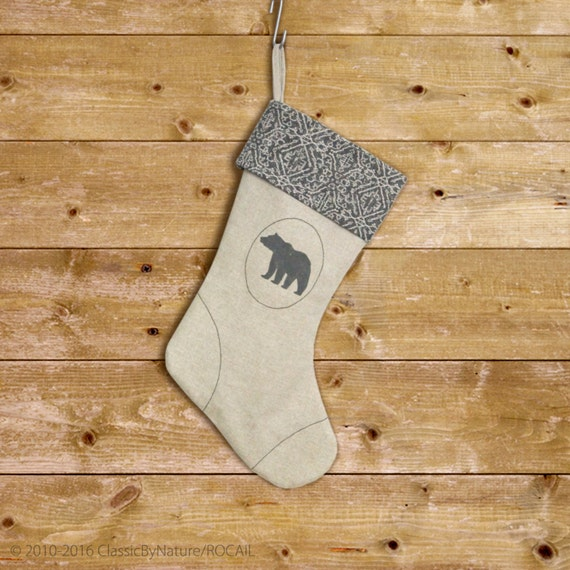Bear Christmas Stocking in Charcoal Grey, Natural and Geometric Pattern Cuff - Modern and Rustic Christmas Home Decor
