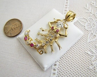 Fancy 14K Gold Scorpion Pendant with Ruby CZ