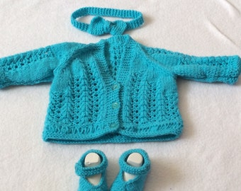 Baby girl cardigan,shoes and headband set 0-3month
