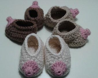 Crocheted Baby Boob Nursing Booties/ Breast Hat/ Accessories/Breast Cancer Awareness/ Handmade/Gag Gift