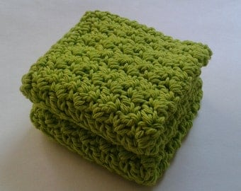 Cloth Pads Reusable Crocheted Cotton Dishcloths, Washcloths, Set of 2- Lime Green