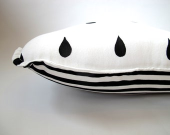Cloud Pillow - Scandinavian Nursery Decor - Black and White  - Stripes and Raindrops - Reversible