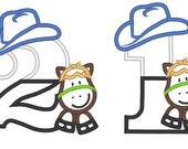 Little Cowboy Birthday numbers - whole set - machine embroidery applique designs 5x7