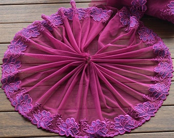 2 Yards Lace Trim Purple Floral Embroidered Tulle Lace 8.66 Inches Wide High Quality