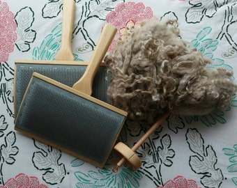 """Complete """"Goat to Coat"""" Kit, Learn to Wash, Card, Spin Mohair Fiber, Schacht Hand Carders, 112 TPI, Drop Spindle, 4 oz Unwashed Mohair"""