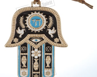 Hamsa hand Wall Hanging decor Lucky Gold tone CHAI Judaica Kabbalah evil eye #MT_WH_10cm_hamsa_gold_chai-black