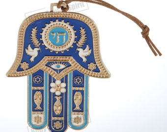 Blue Hamsa hand Wall Hanging decor Lucky CHAI Judaica Kabbalah evil eye #MT_WH_10cm_hamsa_gold_chai-blue