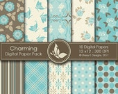 50% off Charming Paper Pack - 10 Digital papers - 12 x12 - 300 DPI