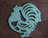 French light Turquoise Painted  Cast Iron Enameled Table Mat,Trivet,hen or cock