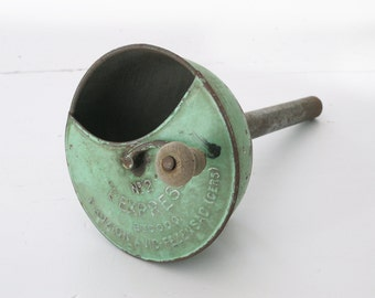 Vintage Large French almond green metal funnel  with handle