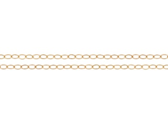 Bulk Quantity Discounted Price 14kt Gold Filled 2.1x1.5mm Flat Cable Chain - 100ft (2342-100)