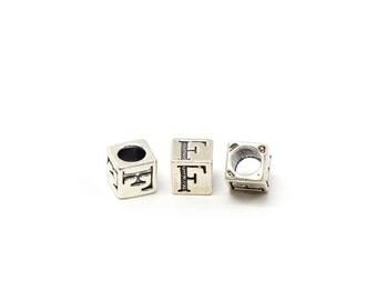Alphabet Beads Sterling Silver 6mm Alphabet Blocks F- 1pc (3199)/1
