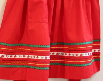 Apron, Embroidered, Red