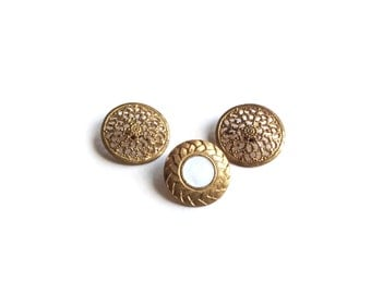 3 Assorted Filigree Gold Metal Buttons, White, Gold