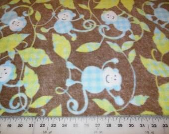 Fleece fabric monkey etsy for Baby monkey fabric prints