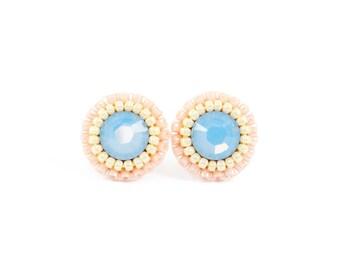 Blue stud earrings | blush stud earrings | dusty blue and blush wedding earrings | blush slate blue bridesmaid earrings | romantic earrings