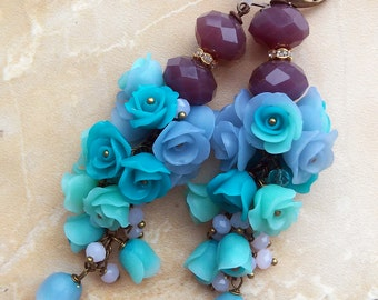 Earrings with flowers roses of polymer clay,polymer clay earrings,floral jewelry,teal
