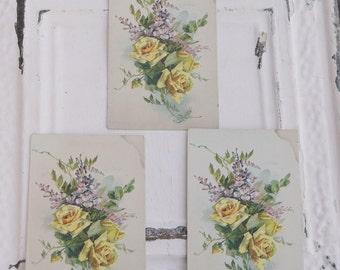 Vintage Flower Postcards Set of Three Floral Postcards Vintage Cards Scrapbook Supply Craft Supply Matched Set of Three Flower Cards