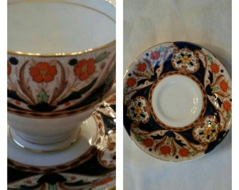 Royal Grafton Cup & Saucer, Hand Painted and Hand Enameled circa 1949 plus-  DR