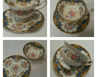 Footed Blue Shelley Cup & Saucer Called Sheraton circa 1945-1966- DR