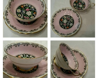 Hand Painted/Hand Enameled Paragon Cup & Saucer circa 1939-1949   DR
