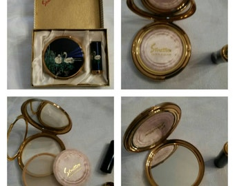 2pc Stratton Compact Gift Set From The Waterbird Series Featuring Two Swans Swimming In The Reeds circa 1959   DR171