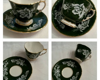 Aynsley Cup & Saucer Featuring A Hunter Green, Embossed Body Adorned With Raised White Roses And Buds circa 1950's  DS
