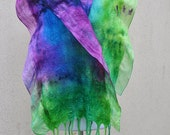 Beautiful scarfl, felted scarf, silk, wool, nuno, felted, gift, fibre art, purple, pink, turquoise, green, lime