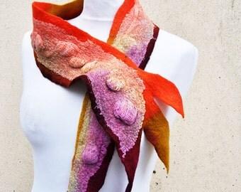 Beautiful scarf, nuno felted scarf, silk, wool, nuno, felted, gift, fibre art, orange, pink, yellow