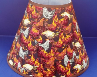 Rooster on Brown Lamp Shade