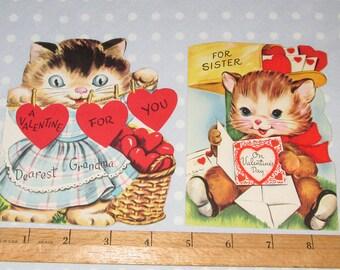 Vintage Valentine Kitten Can Kitty Flocked Sister Grandma Gibson Whit (B)