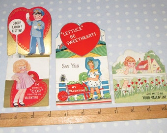 Vintage Valentine Lot of 3 Cards CUTE Folding Foldable (R)