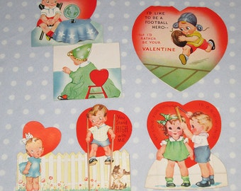 CUTE Vintage Valentine Lot of 4 Cards AC Americard Foldable Football (U)