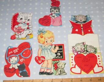 Vintage Valentine Lot of 5 Cards Kitten Kittens Cat Foldable Girl (KK)