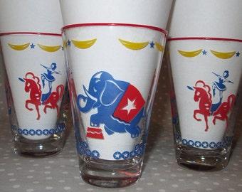 Four Vintage Libbey Circus Drinking Glasses Elephant Horse Clown Bright Red Blue Set of 4 plus 1 Hostess Set Children