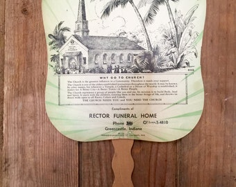 Vintage Advertising Fan - Rector Funeral Home - Greencastle, Indiana
