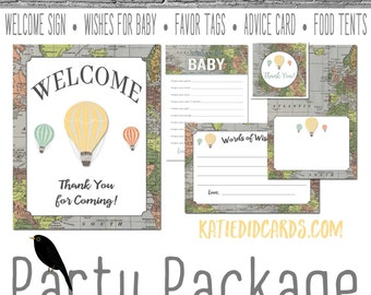 Travel Themed oh the places you'll go baby shower Adventure Awaits hot air world map party package game sign wishes 1243 Katiedid Designs