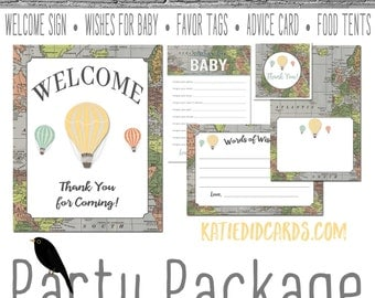 Oh the Places he'll go map 1243 5 item package AS IS Instant Download Welcome sign wishes for baby favor tag food advice hot air balloon