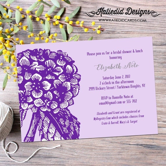 Couples Bridal Invitation I do BBQ engagement party stock the bar Rehearsal Dinner floral chic invite hydrangea purple 354 Katiedid Designs
